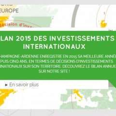 Bilan 2015 des investissements internationaux :   Mouvement de reprise pour le territoire de Champagne-Ardenne