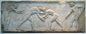 Combat de lutteurs en Grèce antique vers 510 av. J.-C.