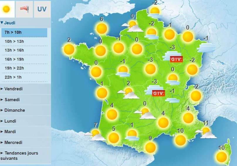 carte meteo france aujourd hui Météo : la neige, c'est pour lundi