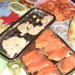 Saumon, foie gras et chapon