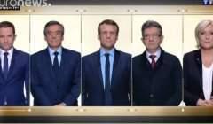 Cinq candidats sur le plateau de TF1 (capture euronews)