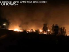 Incendie du camp de Grande-Synthe (capture EuroNews)