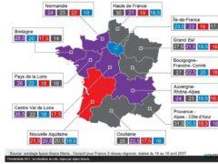 Présidentielle 2017 : les intentions de vote, région par région. Présidentielle 2017 : les intentions de vote, région par région.Visactu