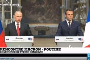 Macron-Poutine au château de Versailles (capture France24)