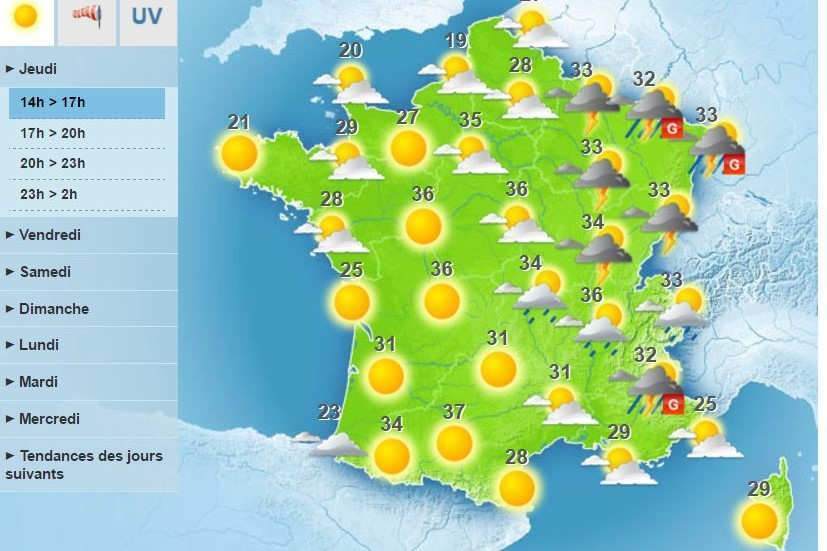 Alerte orange orages et canicule