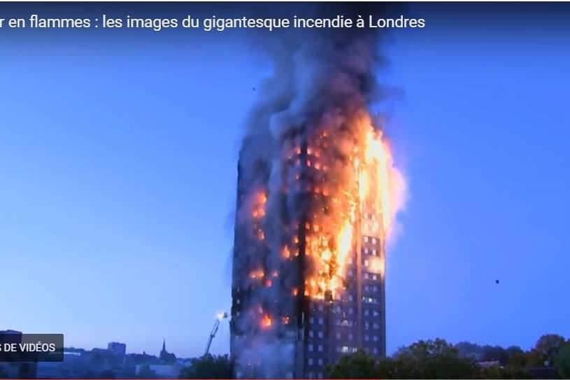 Terrible incendie d'une tour à Londres