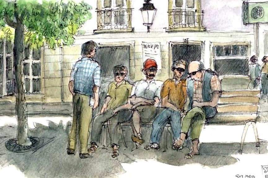 Retraités sur un banc. Guy MOLL-Flickr, CC BY