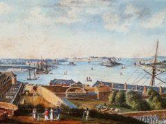 Le port et la rade de Lorient, aquarelle anonyme, vers 1800. Parti de Lorient il y a trois siècles, François Renier Duminy a transmis à sa descendance en Afrique du Sud une affection héréditaire de la peau. Musée de la Compagnie des Indes