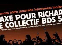 Manif devant le tribunal de Metz le 5 octobre (affiche BDS)