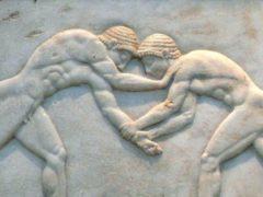 À quoi ressemblaient les JO des Grecs ? 4 août 2016, 21:26 CEST Combat de lutteurs en Grèce antique vers 510 av. J.-C. Fingalo/wikipédia, CC BY-SA