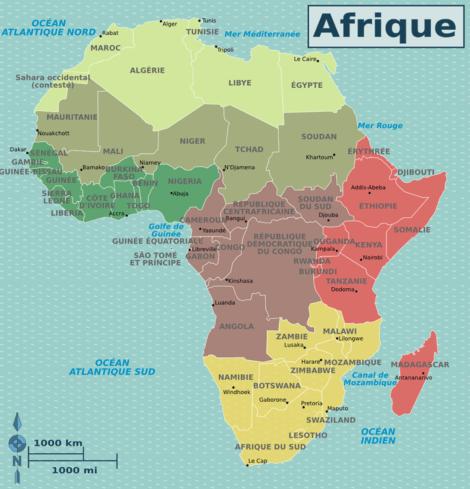Les régions d'Afrique (Wikivoyage)