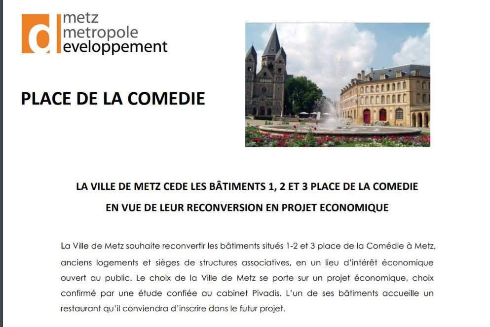 Appel à projet de Metz-Métropole-Développement (Capture)