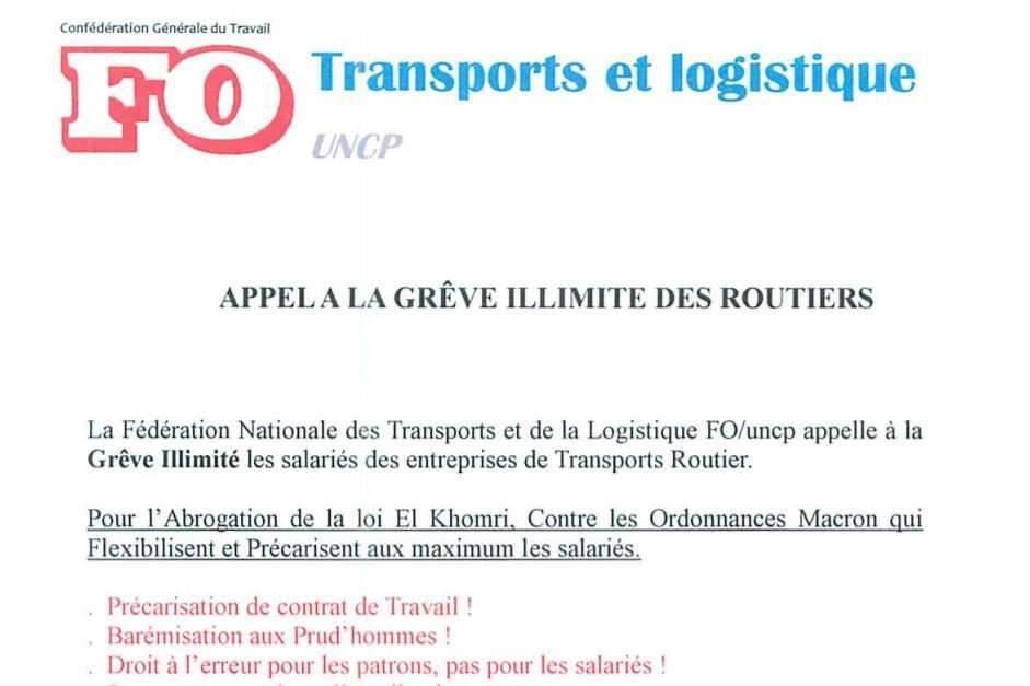 Le syndicat FO appelle les routiers à la grève pour le 25 septembre