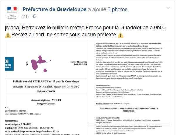 Consignes de la préfecture de Guadeloupe