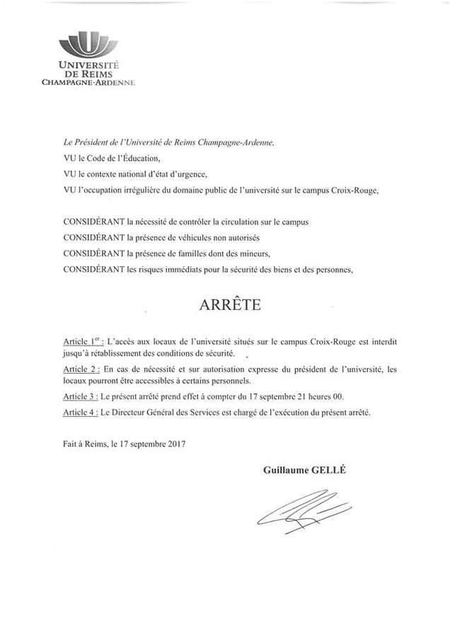 L'arrêté du président de l'université de Reims
