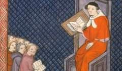 Illustration du XIVᵉ siècle, où l'on voit Barthélémy l'Anglais, franciscain très docte venu d'outre-Manche donner un cours à la faculté de médecine de l'université de Paris. BnF