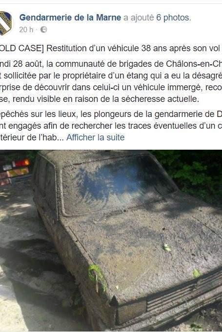 Un post sur la page Facebook de la gendarmerie