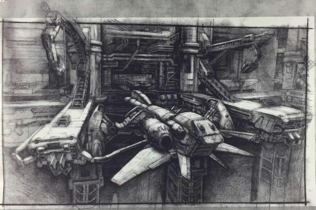 """Etude de décors, dessin de Jim Martin (""""Alien Resurection"""")"""
