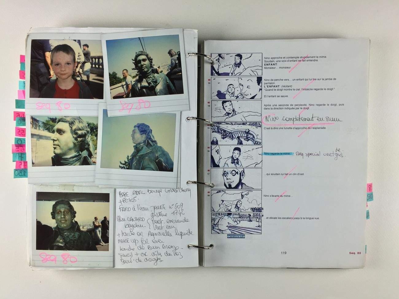 """Storyboard et polaraoïds (""""Amélie"""")."""
