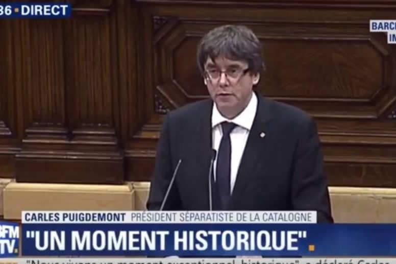Carles Puigdemont annonce que la Catalogne sera un jour une République (capture BFM sur Youtube)