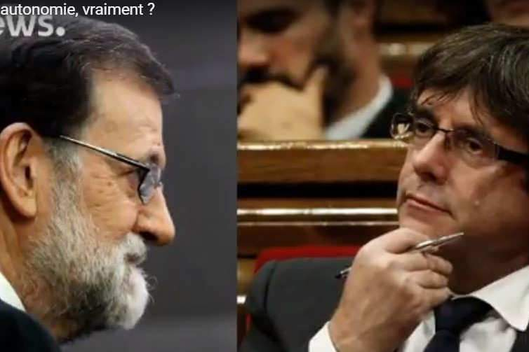 Bras de fer entre le chef du gouvernement espagnol Mariano Rajoy et le président séparatiste Carlos Puigdemont (Capture Euronews)