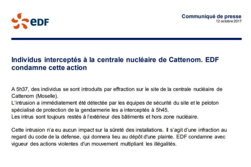 communiqué EDF sur Cattenom