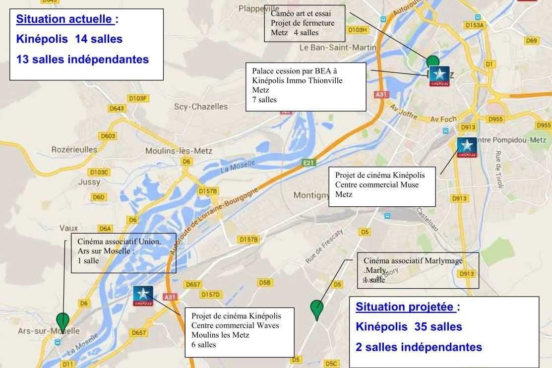 La carte des cinémas dans la région de Metz (AGICAM)