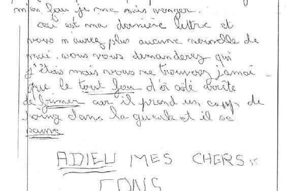Une partie de la lettre du corbeau du 17 mai 1983