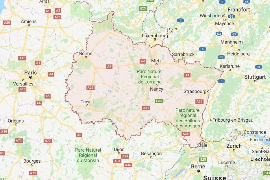 La région Grand Est au cœur de l'Europe (Wikipedia)