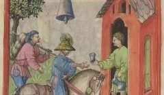 Une cloche, enseigne parlante et sonore d'un débit de boisson en milieu rural : entendue de loin, elle attire la clientèle. Ibn Butlan, Tacuinum sanitatis, Allemagne du Sud, milieu du XVe s. Paris, BnF, ms Latin 9333, folio 85 verso