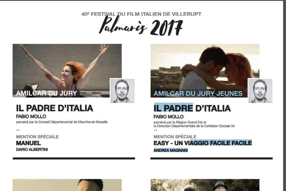 Villerupt: Palmarès 2017 du Festival du film italien