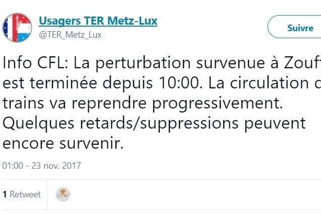 Trafic ferroviaire perturbé entre Metz et Luxembourg