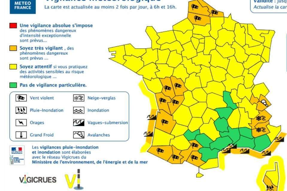 20 départements en alerte orange