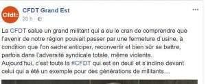 Réaction de la CFDT Grand-Est