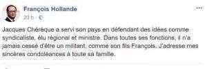 Réaction François Hollande au décès de J.Chérèque