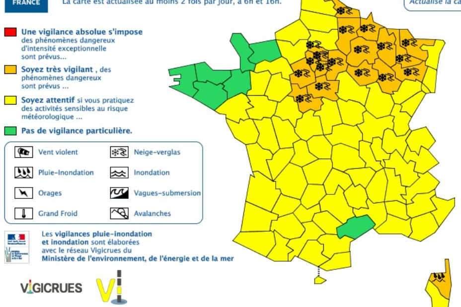 Alerte neige-verglas pour 21 départements