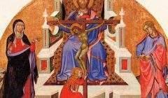Retable de la Trinité (tableau supérieur), par Bartolo di Fredi. Musée des Beaux-Arts de Chambéry/Wikimedia