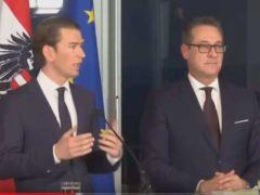 Conférence de presse de Sébastian Kurtz, nouveau Chancelier d'Autriche et Hans-Christian Strache vice-chancelier issus de l'extrême-droite (capture Hello World)