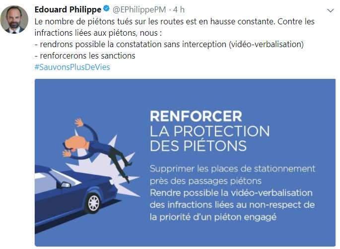 Edouard Philippe devant le Comité interministériel de la sécurité routière veut renforcer la sécurité des piétons