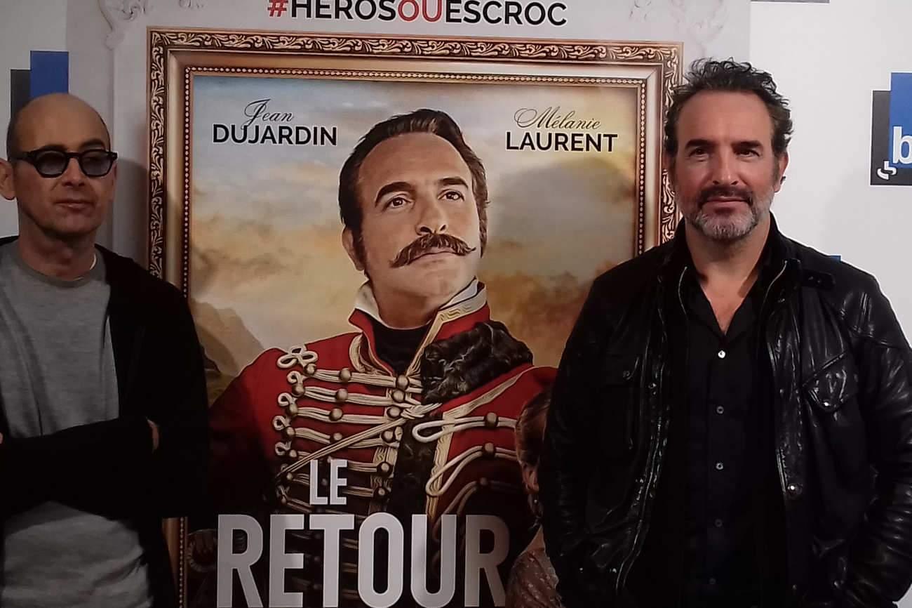 """Le réalisateur Laurent Tirard et Jean Dujardin, lors de l'avant-première du """"Retour du héros"""" à Nancy. """"Avec Laurent, on a biberonné aux même films"""", confie l'acteur."""