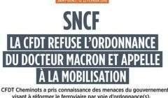 La CFDT refuse les ordonnances du Dr Macron pour réformer la SNCF