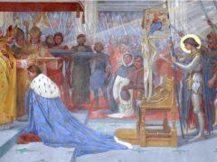 Peinture de la basilique de Domrémy représentant le sacre de Charles VII à Reims en présence de Jeanne (DR)