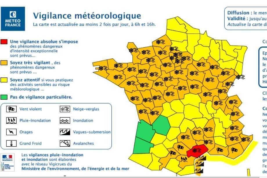 Vigilance rouge dans l'Hérault. Le redoux est annoncé pour ce jeudi (carte météo France)