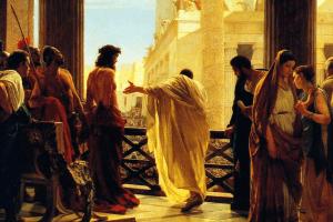 Jésus et Pilate, tableau d'Antonio Ciseri (Ecce Homo, XIXᵉ siècle). Palazzo Pitti, Florence. Wikipedia