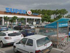 Le super U de Trèbes, dans l'Aude, où a eu lieu la prise d'otages (Google)