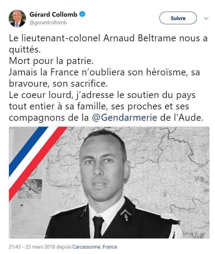 """Le L-C Arnaud Beltrame, est """"mort pour la France"""" (Gérard Collomb Twitter)"""