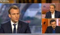 Emmanuel Macron interviewé par Edwy Plénel et Jean-Jacques Bourdin (photo capture Euronews)