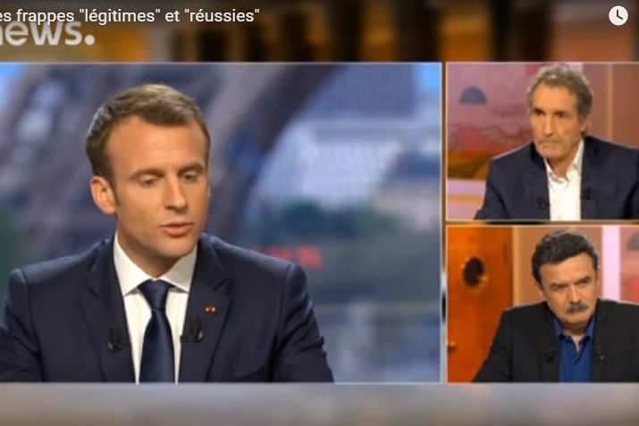 Emmanuel Macron interviewé par Edwy Plénel et Jean-Jacques Bourdin (photo capture Euronews)