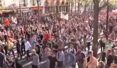 Manif des étudiants à Paris (capture Euronews)