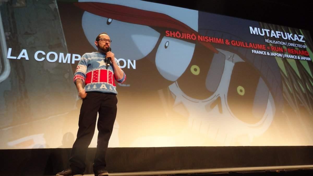 """Guillaume """"Run"""" Renard sur la scène du Festival du Film Fantastique de Gérardmer, dont il est reparti avec deux Prix."""